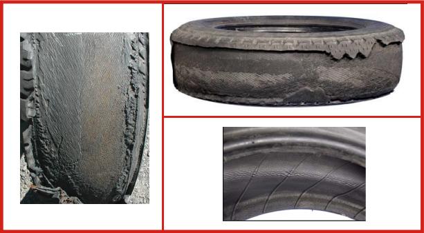 Danneggiamento pneumatici: distacco fra battistrada e cintura