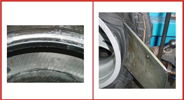 Danneggiamento pneumatici: fenditura nella circonferenza interna