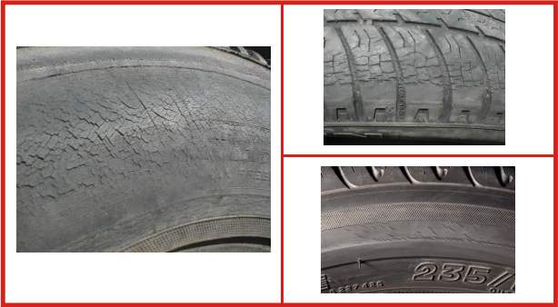 Danneggiamento pneumatici: screpolature in superficie